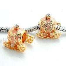 1pcs gold CZ European Charm Beads Fit 925 Necklace Bracelet Chain #399S