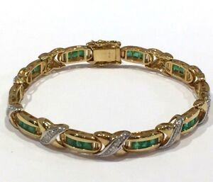 Bracelet or jaune 18 k Émeraudes et Diamants