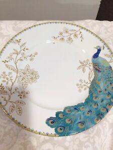 222Fifth Peacock Garden 4 New  Dinner Plates