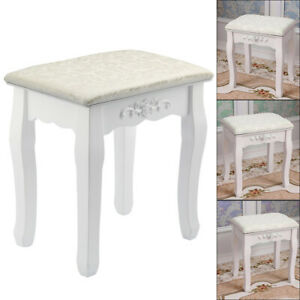 Dressing Table Stool Vintage Soft Cushioned Seat Makeup Bench Piano Chair White