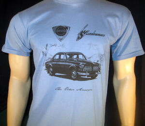 VOLVO AMAZON T-SHIRT - 120 Series 122S 123GT - 5 sizes in Ash Grey or Steel Blue