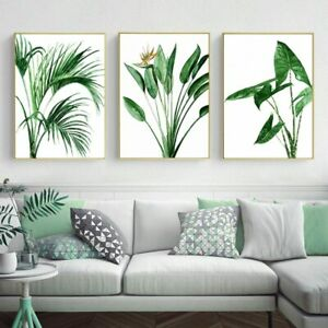 Modern Botanical Nordic Wall Art Alocasia Leaves Green Plants Canvas Paintings
