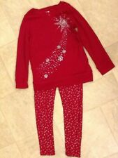 Gymboree 2 Pc Maroon Long Sleeve Shirt &Pants w/ Silver Stars & Snowflake Size S
