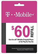T-Mobile $60 Prepaid Refill Card, Air Time Top-Up/Pin (SAME DAY DIRECT REFILL )