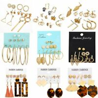 5/6Pairs Boho Tassel Sequin Geometric Earrings Drop Dangle Jewelry Party Summer