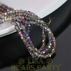 100pcs 4mm Cube Square Faceted Crystal Glass Loose Spacer Beads Purple Colorized