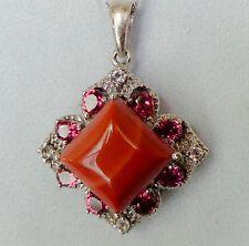 Kennedy Range Mookaite, Orissa Rhodolite Garnet, White Topaz Necklace 20 In