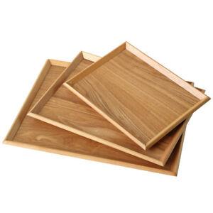 Wooden Tea Tray Serving Table Plate Snacks Dessert Food Storage Tableware Home