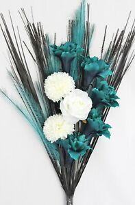 NEW HANDMADE ARTIFICIAL SILK TEAL & CREAM FLOWER GRASS BOUQUET READY FOR VASE