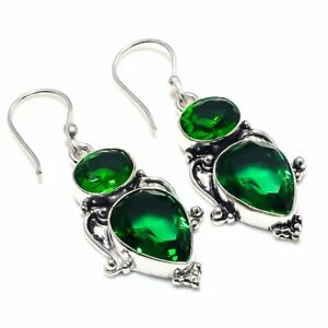Chrome Diopside Gemstone 925 Sterling Silver Jewelry Gift Earring 1.97 SD