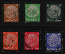 GERMANY #436-441 Used 1934 HINDENBURG MEMORIAL ISSUE SCV $10.60