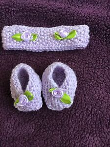 Hand knitted Dolls baby born shoes and headband set Purple New