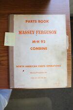 Massey Ferguson M H 92 Combine Parts Manual