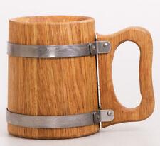 Beer Mug German Mugs Barrel Cup Wooden Natural Oak Wood Brown 17 OZ / 0.5 L
