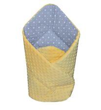 Minky Swaddle Wrap Blanket Newborn Baby Infant Pram Duvet Sleeping Bag / Yellow