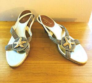 ERIC JAVITS New York Gold Metallic Star Fish Cloth Braiding Leather Sandals 9 M