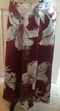 DAVID EMANUEL Burgundy A Line Calf Length Floral Evening Skirt Size 12 BNWT