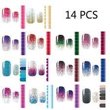 14PCS Glitter Nail Stickers Gradient Color Polish Strip Regular Petite DIY Decor