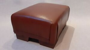 Footstool / Small Stool / Vintage real tan leather/ Brown   (CODE TAN 1)