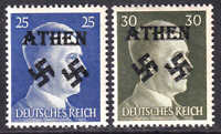 GERMANY 518-519 ATHEN OVERPRINT OG NH U/M F/VF TO VF BEAUTIFUL GUM