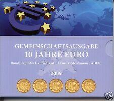 manueduc   CARTERA ALEMANIA  2009  5 Cecas   10º Aniversario  Euro Baño Dorado