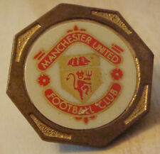 MANCHESTER UNITED vintage 1970 80s Insert type badge Brooch pin Gilt 29mm x 29mm