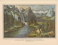 "1952 Vintage Currier & Ives ""YOSEMITE VALLEY"" BRIDAL VEIL FALLS COLOR Lithograph"