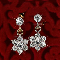 18k yellow white gold gf made with SWAROVSKI crystal stud earrings snowflake