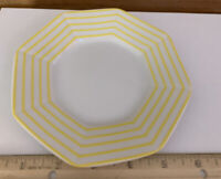"""6""""Fitz and Floyd Vintage """"Pin Stripe"""" Yellow Coffee Saucers Set of 4"""