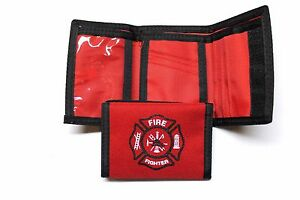 Fire Fighter Logo Nylon Trifold Wallet  - RED - NEW