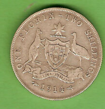1914  AUSTRALIAN STERLING SILVER FLORIN  TWO SHILLING COIN