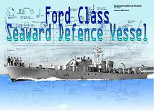 Model Boat Printed Plans 1/72 Scale  Ford Class Seaward Defense Vessel