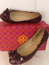Tory Burch Blossom Port Wine Flowers Leather Gold Reva Ballet Flats 8