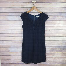 BETH BOWLEY Women's Cap Sleeve Half Button Lace Overlay Dress SIZE 6 Navy Blue