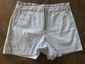 J. Crew Seersucker Shorts Blue White Pin Stripes Ruffle Waist Women's Size 2
