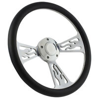 """14"""" Billet Flame Black Wrap Steering Wheel For Boats - Horn + Adapter Included!"""