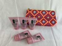 5 Pack Clinique All About Clean Rinse-Off Foaming Cleanser & Makeup Bag Travel