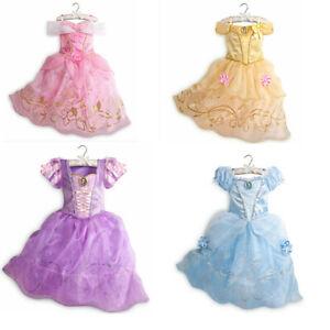 Girls Princess Dress Belle Rapunzel Cosplay Costume Fancy Dress Up Birthday