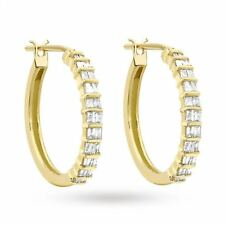 Pave 0.60 Cts Natural Diamonds Hoop Earrings In Solid Hallmark 14K Yellow Gold