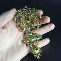 Georgian 18K Gold Green Emerald Paste Stomacher Pendant Antique Pre Victorian