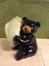 Cute Black Bear With A Fish Salt and Pepper Shakers