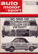 auto motor sport 18/64 VW 1500 Typ3 Schwachstellen?/NSU Wankel Spider - 5.9.1964