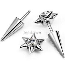 Silver Stainless Steel Spike Rivet CZ Stud Earrings Screw Back Men's Jewelry