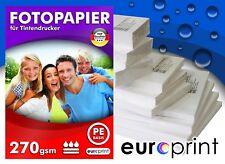 Fotopapier 270g 100 Blatt 9x13 Seidenglänzend Mikroporös Rückseite PE Qualität