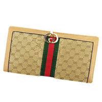Gucci Wallet Purse G logos Brown Beige Woman unisex Authentic Used T2437