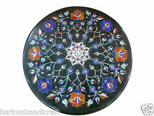 """30"""" Marble Dining Table Top Round Lapis Inlaid & FREE Elephant Statue Decorative"""