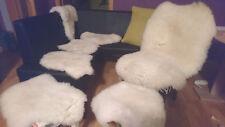 Lammfell Weiss Creme klein HOCKER,Sitzkissen Stühle ca.40 cm Hundekorb schaffell