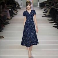 Womens Long Printed Floral Ball Gown Summer Short Sleeve V-neck Runway Dress Hot