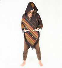 Handmade Poncho with Large Hood Black Cashmere Wool, Earthy Tribal Pattern