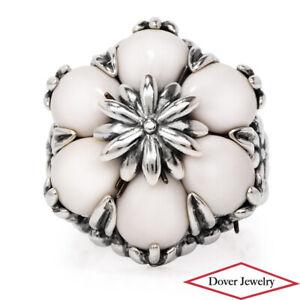 Estate White Agate Sterling Silver Fancy Flower Ring 11.9 Grams NR